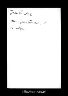 Janisławice. Kartoteka powiatu rawskiego w średniowieczu. Kartoteka Słownika historyczno-geograficznego Mazowsza w średniowieczu