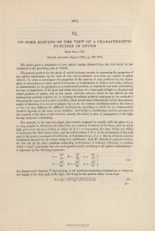 On some Results of the View of a Characteristic Function in Optics. (1833)