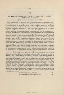 On the undulatory Time of Passage of Light through a Prism. (1833)