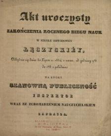 Akt Uroczysty Zakończenia Rocznego Biegu Nauk w Szkole Obwodowéy Łęczyckiéy ... .