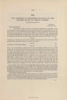 Two Letters to Professor Phillips on the construction of object glasses. (1843-4)