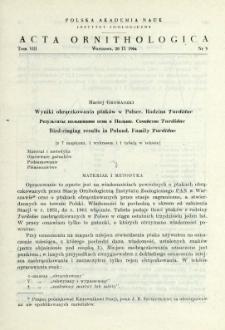 Wyniki obrączkowania ptaków w Polsce: rodzina Turdidae