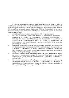 Modelowanie matematyczne, symulacja komputerowa i identyfikacja procesów dynamicznych i biologicznych w miejskiej oczyszczalni ścieków