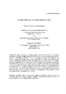 Granular clustering: a granular signature of data