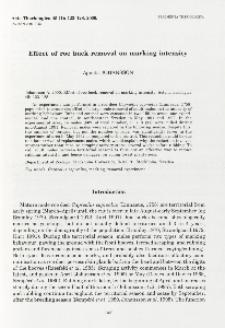 Effect of roe buck removal on marking intensity