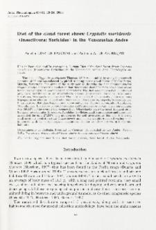 Diet of the cloud forest shrew Cryptotis meridensis (Insectivora: Soricidae) in the Venezuelan Anders