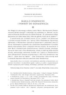 Maria o Spasowiczu i powrót do Sienkiewicza