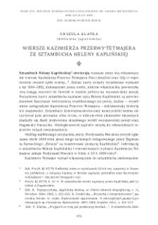Wiersze Kazimierza Przerwy-Tetmajera ze sztambucha Heleny Kaplińskiej