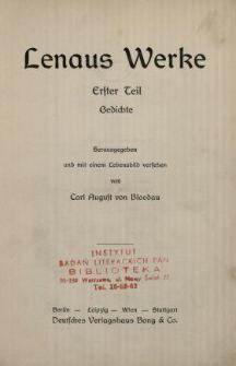 Lenaus Werke. 1 Tl, Gedichte