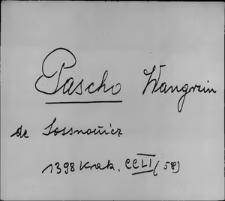 Kartoteka Słownika staropolskich nazw osobowych; Pasz - Paw