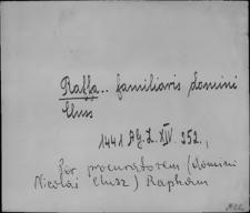 Kartoteka Słownika staropolskich nazw osobowych; Raf - Raj - Rak-