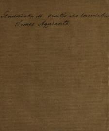 Oratio De Laudibus S. Thomae Aquinatis Angelici Ecclesiae Doctoris Habita In Ecclesia RR. PP. Ordinis Praedicatorum Varsaviae Nonis Martii MDCCLXI
