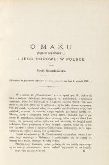 O maku (papaver somniferum I.) i jego hodowli w Polsce