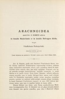 Arachnoidea, opera Rev. E. Schmitz collecta in insulis Maderianis et in insulis Selvages dictis