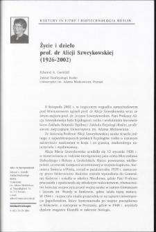 Życie i dzieło prof. dr Alicji Szweykowskiej (1926-2002)