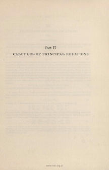 Calculus of Principal Relations. (1836)