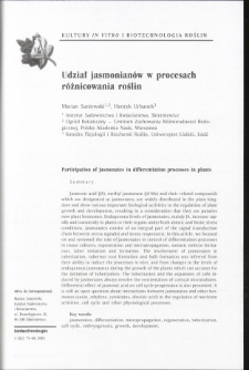 Participation of jasmonates in differentiation processes in plants