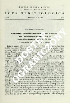 Sprawozdanie z działalności Stacji Ornitologicznej za rok 1954