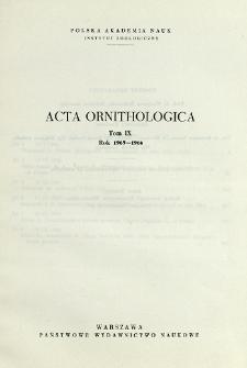 Acta Ornithologica ; t. 9 - Spis treści