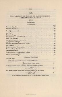 Propagation of Motion in Elastic Medium-Discrete Molecules. (1839)