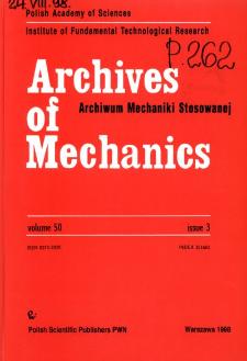 Archives of Mechanics Vol. 50 nr 3 (1998)