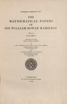 The mathematical papers of sir William Rowan Hamilton. Vol. 2, Dynamics, spis treści i dodatki