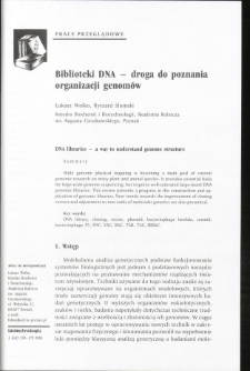 DNA libraries - a way to understand genome structure