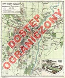 Plan miasta Poznania oraz widok Powszechnej Wystawy Krajowej z lotu ptaka