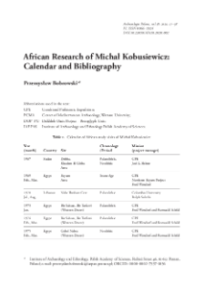 African Research of Michał Kobusiewicz: Calendar and Bibliography