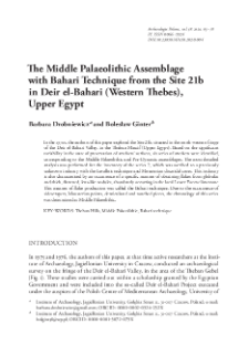 The Middle Palaeolithic Assemblage with Bahari Technique from the Site 21b in Deir el‑Bahari (Western Thebes), Upper Egypt