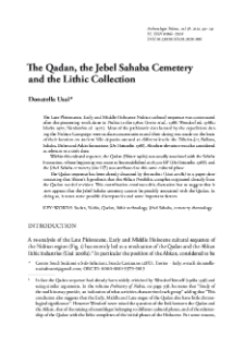 The Qadan, the Jebel Sahaba Cemetery and the Lithic Collection