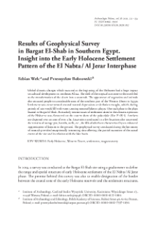 Results of Geophysical Survey in Bargat El-Shab in Southern Egypt. Insight into the Early Holocene Settlement Pattern of the El Nabta / Al Jerar Interphase