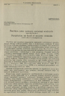 Perifiton jako pokarm zwierząt wodnych : (metody badań)