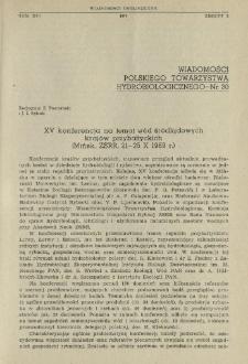 XV konferencja na temat wód śródlądowych krajów przybałtyckich (Mińsk, ZSRR, 21-25 X 1969 r.)