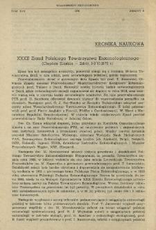 XXXII Zjazd Polskiego Towarzystwa Entomologicznego (Cieplice Śląskie - Zdrój, 1-3 VI 1970 r.)