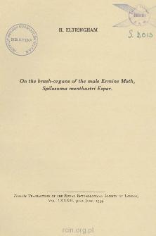On the brush-organs of the male Ermine Moth, Spilosoma menthastri Esper.
