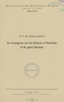 An investigation into the Defences of Butterflies of the genus Charaxes