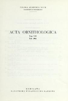 Acta Ornithologica ; t. 8 - Spis treści