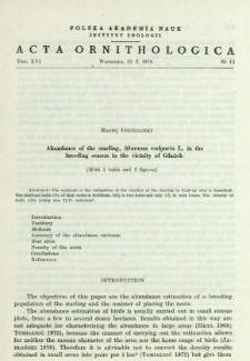 Obserwacje nad biologią okresu lęgowego dymówki, Hirundo rustica L.