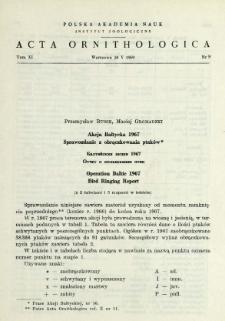 Akcja Bałtycka 1966, Sprawozdanie z obrączkowania ptaków