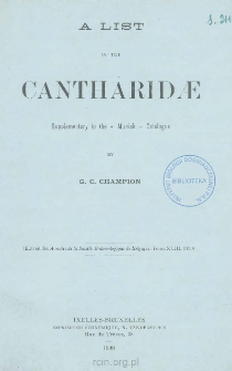 """A list of the Cantharidae: Supplementary to the """"Munich"""" catalogue"""