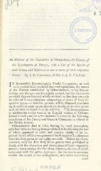 An abstract of the characters of Ochsenheimer's Genera of the Lepidoptera of Europe with a list of the species of each genus, and reference to one or more of their respective icones