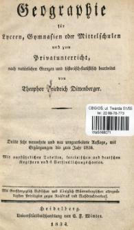 Geographie für Lyceen, Gymnasien oder Mittelschulen und zum Privatunterricht, nach natürlichen Grenzen und Historisch-statistisch bearbeitet