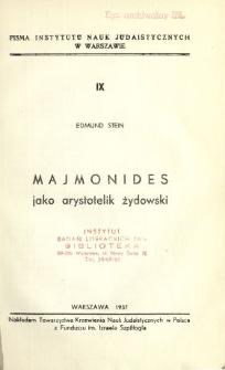Majmonides jako arystotelik żydowski
