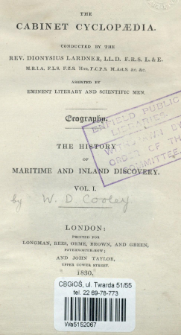 The history of maritime and inland discovery. Vol. 1.