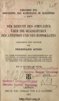 Der Bericht des Simplicius über die Quadraturen des Antiphon und des Hippokrates