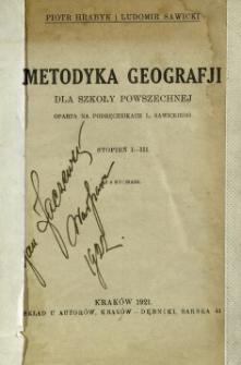 Metodyka geografji dla szkoły powszechnej : oparta na podręcznikach L. Sawickiego : stopień 1-3
