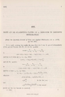 Note on Dr. Glaisher's paper on a theorem in definite integration