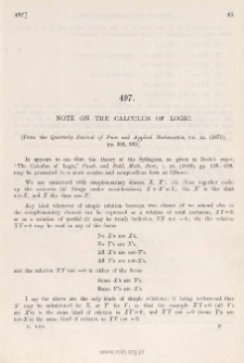 Note on the calculus of logic