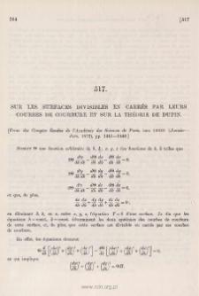 Sur les surfaces divisibles en carrés par leurs courbes de courbure et sur la théorie de Dupin
